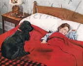 Vintage Ad 1930s - Cocker Spaniel Gaurds Sleeping Child, or REALLY Needs To Go Outside