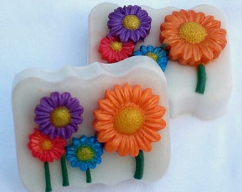 Mystic's Summer Daisy Garden Party - Hyacinth Fragrance - 2 Goat's Milk & Olive Oil Glycerin Soaps