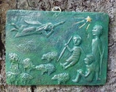 "Dark Green Rectangle Wall Relief ""Follow The Star"""