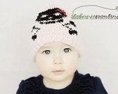 Pink skull hat for girls with attitude - hand knit for punk rock girls