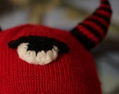 Horned funny viking hat, red and black with cyclops for kids, adults and teens