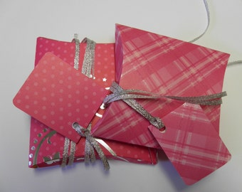 Pink and silver 2 pack pillow box gift wrap kit with ribbon, tags and tissue wrap