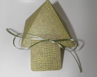 Green alligator print pyramid gift box with ribbon and tag.  .