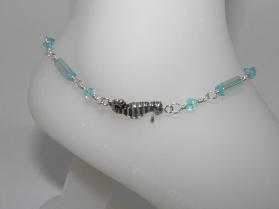 Aquamarine blue anklet  with sterling silver sea horse charm.