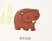 "Letterpress Print ""Happy Bear"""