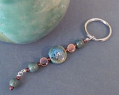 60-07 Teal Speckled Ceramic Keychain