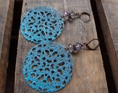 20-39 Turquoise Blue, Antique Copper and Crystal Filigree Earrings