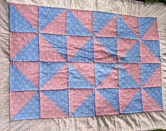 Small Baby Crib  quilt in  Pink and Blue - good for girls or boys - pink and blue Pinwheel pattern