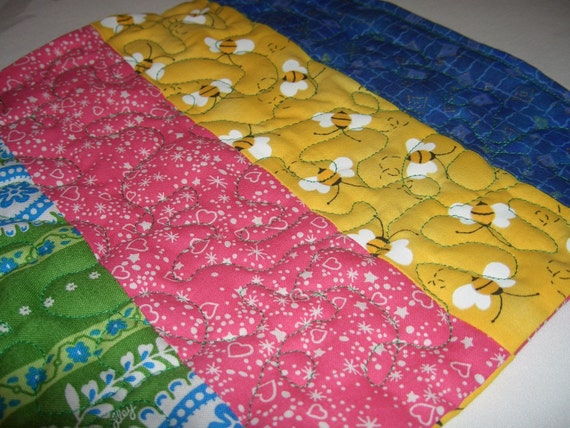 Colorful mini quilt made from vintage fabric - potholder - table mat for hot pot!