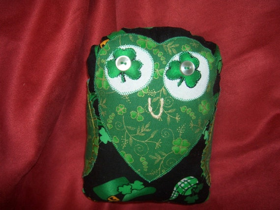 Plush Owl from Ireland made with Irish fabrics - hand made in Ireland