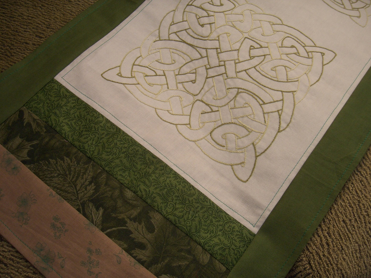 Celtic Knot Hand Embroidered Table Runner Quilted Table