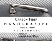 Carbon Fiber Rollerball Writing Pen High End Marksman Pen Hand Machined Stainless Steel Made by hand on a lathe  polished to perfection
