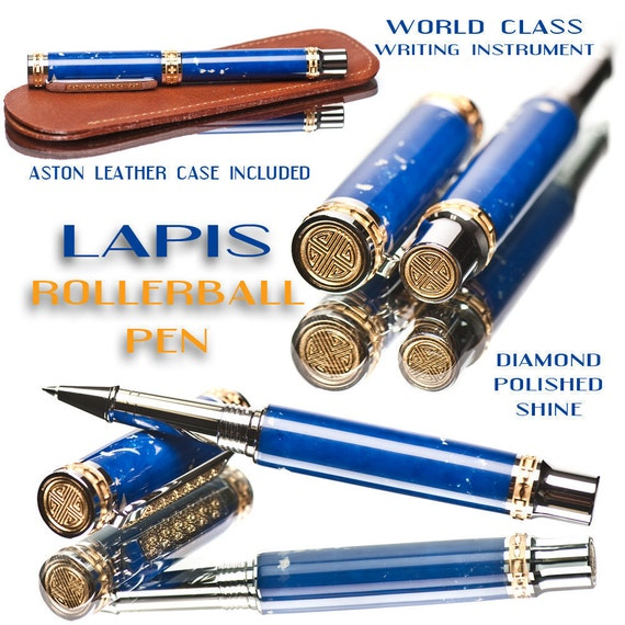 World class lapis pen - best rollerball writing instrument with wood case