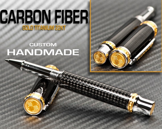 Handmade Carbon Fiber Pen Rollerball gift for a man, perfect for the executive, or corporate gifts
