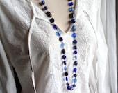 Blue Glass Brass Gold Long Necklace