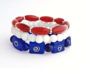 Red White and Blue Stretch Bracelets, America, USA, Patriotic, Independence Day, Fourth of July Jewelry, Memorial Day