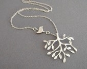 Silver Tree Branch Necklace Bird Forest Friends Jewelry