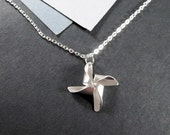 Silver Pinwheel Necklace, Sterling Chain