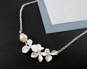 Triple Orchid Necklace Pearl Silver Wedding Bride Bridesmaid Gift Ideas Bridal Necklace