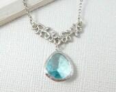 Branch Necklace - Aquamarine Briolette - White Gold Necklace - Wedding, Bride, Bridesmaids Gift, Bridal Jewelry Briedesmaids Necklace