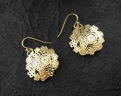 Paisley Earrings Gold Flower Earrings