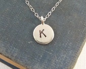 Personalized necklace, Initial Necklace, Celebrity Inspired, Minimalist, Layering Necklace, Sterling Silver Initial Disc Initial Jewelry