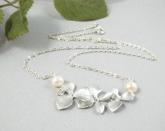 Triple Orchids Necklace White Gold Swarovski Pearl Necklace Wedding Bride Bridesmaid Gift Bridal Jewelry