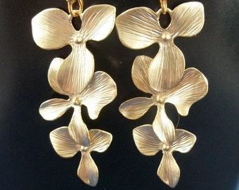 Orchid Earrings, Gold Cascading Orchid Flowers, Long Dangle EarringsWedding Jewelry, Bridemaids gift