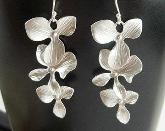 Orchid Earrings - Silver Orchid Earrings,Wedding Jewelry, Bridesmaid Earrings, Anniversary Gift,  Bridal Jewelry, Dangle Earrings