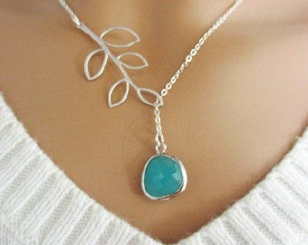 Aqua and Branch Lariat Necklace, Aquamarine Pendant, Leaf Branch Charm