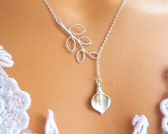 Wedding Jewelry, Calla Lily Lariat, Bridesmaid Gifts, Bridesmaids Necklace, Wedding Necklace, STERLING SILVER CHAIN