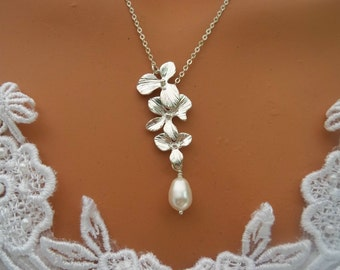 Triple Orchid Necklace - Teardrop Pearl - Silver Necklace