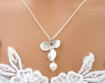 Wedding Jewelry, Orchid Necklace,  Pearl, Flower Girl Necklace, Bridesmaid Jewelry, Bridesmaid Necklace, STERLING SILVER CHAIN
