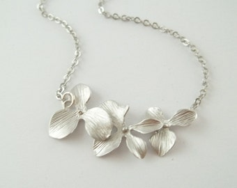 Triple Orchids Necklace White Gold Wedding Bride Bridesmaid Gift Bridal - STERLING SILVER CHAIN