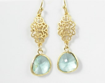Gold Earrings, Gold Filigree with Prasiolite Earrings, Pastel, Light Green, Bridesmaid Gifts