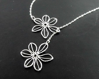Daisy Necklace Lariat - STERLING SILVER CHAIN