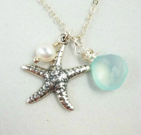 Starfish Necklace,  Aqua Chalcedony, Freshwater Pearl, Sterling Silver