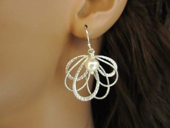Feather Fan Earrings, Pearl Earrings Wedding Bride Bridesmaid Bridal