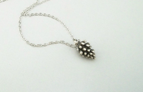 Silver Pinecone Necklace - STERLING SILVER CHAIN