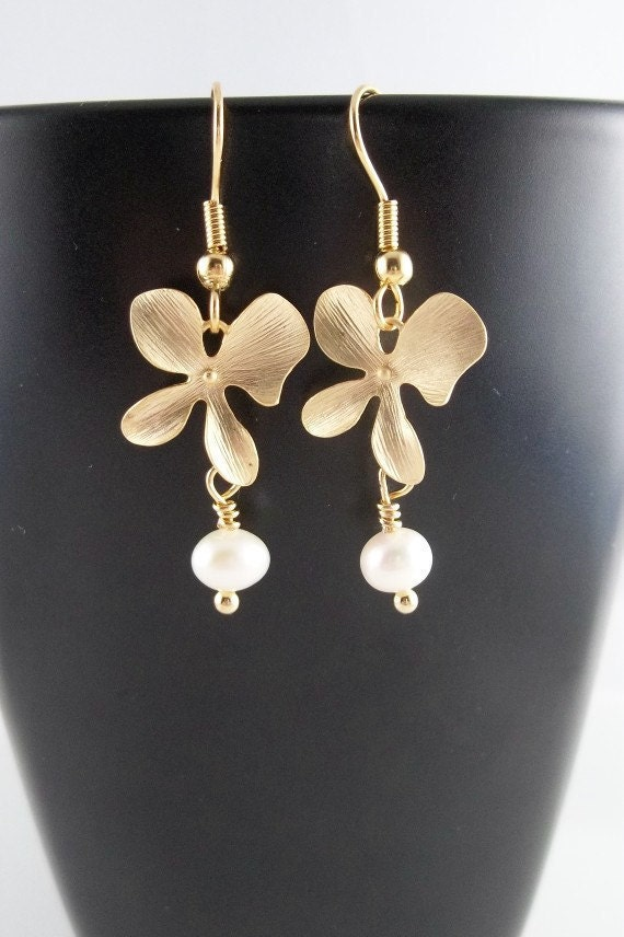 Gold Orchid And Freshwater Pearl Earrings Wedding Bride Bridesmaids ...