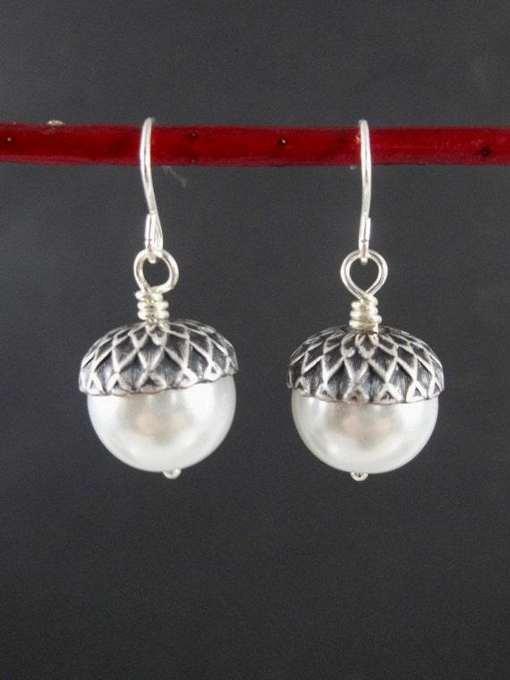 Acorn Earrings - White Swarovski Pearls - Silver Earrings