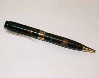Black and Orange/Gold Acrylic Half Twist Pen
