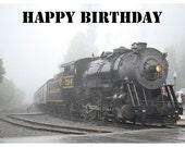 Steam Engine Train Photo Birthday Card
