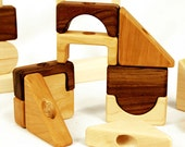 Modular Stacking Block Puzzle, Large Set, educational geometric shapes and building blocks wood toy