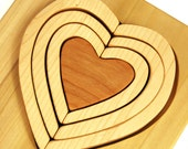 Valentines Nesting Stacking Heart Puzzle, handmade montessori wood toy for babies, toddlers and children