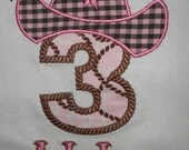 Cowgirl Hat Applique SHORT or LONG SLEEVE Tee Shirt