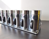 Vintage 50s tin spice wall hanging rack with 6 canisters