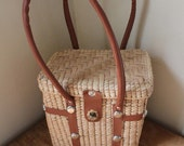 Beach Days - Gorgeous 1950's Style Straw Bucket / Picnic Basket With Faux Leather handles