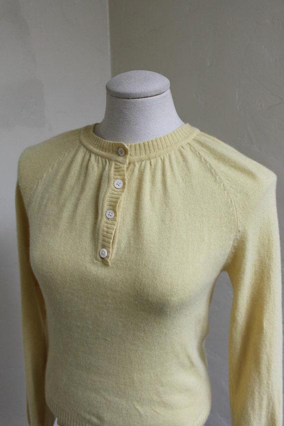 Lovely 1950's Lemon Cashmere Bombshell Sweater .  - Size medium.