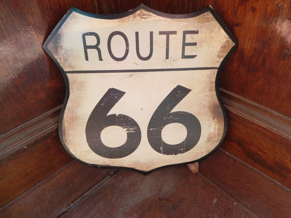 Vintage Sign Route 66/ Reserved for Michele